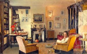 Christine de Rivoyre dans son appartement du boulevard Saint-Germain dans les années 50.